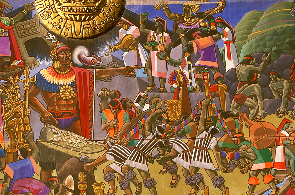 Mural by Juan Bravo, c1995, depicting the history of the Incan Civilization Pachacutec Yupanqui directing construction of Cuzco, Peru