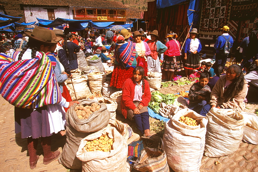 Pisac, village in Sacred Valley of the Incas near Cuzco and famous for one of the world's most colorful craft and produce markets, Highlands, Peru
