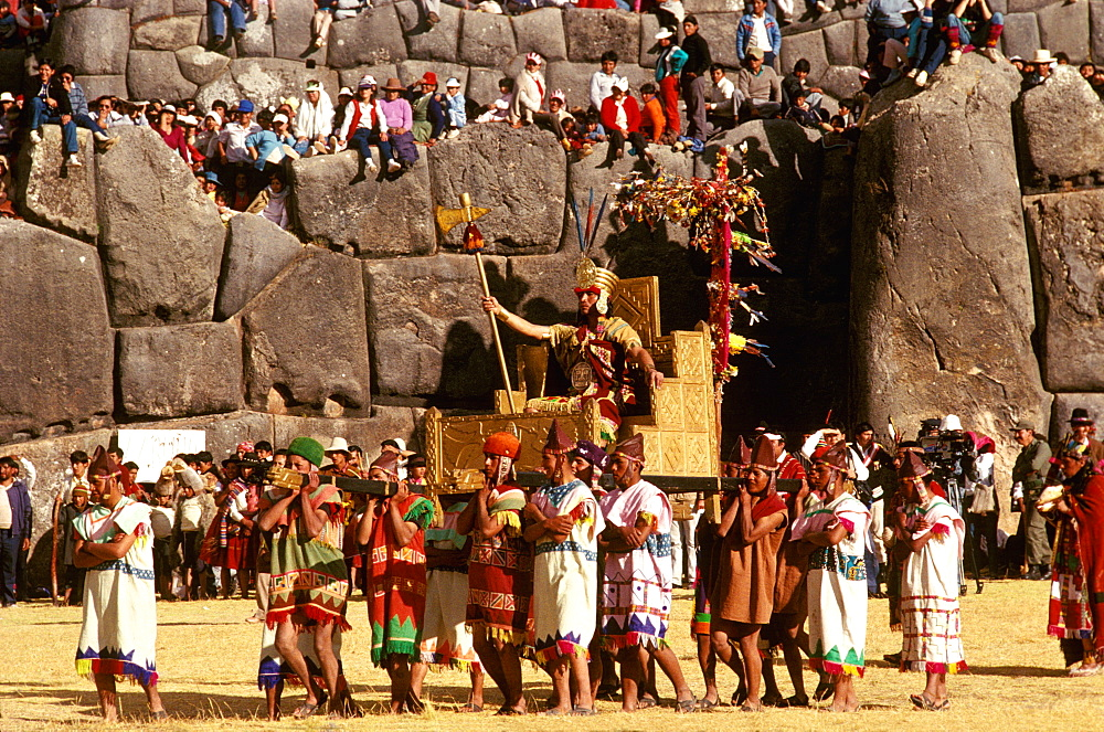 Inti Raymi the Inca carried on his throne during the Inca Festival of the Sun, held at Sacsayhuaman, above Cuzco on June 24th, Peru