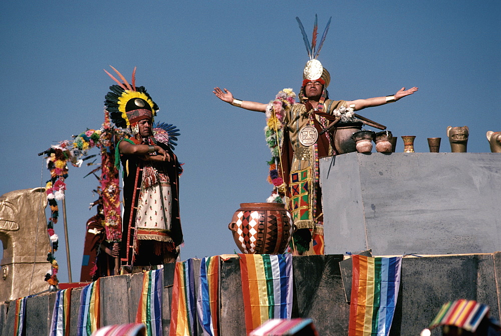 Inti Raymi the Inca offering sacrifice during the Incan Festival of the Sun, held at Sacsayhuaman, above Cuzco on June 24th, Peru