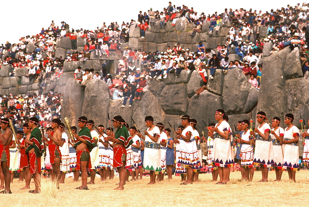 Inti Raymi the procession of warriors during the Incan Festival of the Sun, held at Sacsayhuaman, above Cuzco on June 24th, Peru - 763-919