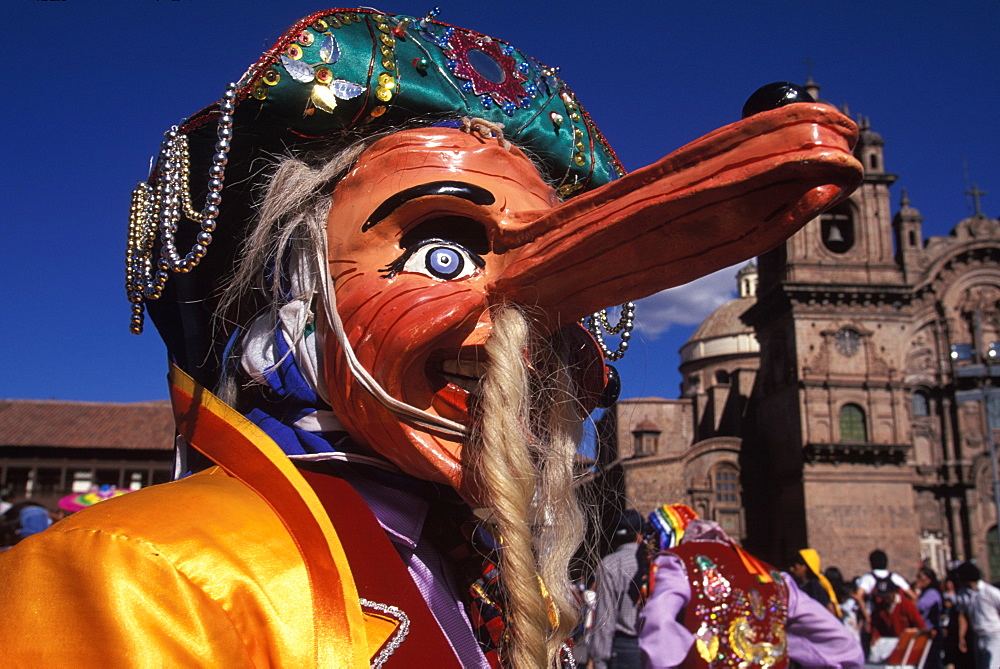 Corpus Christi is one of Peru's most famous festivals, costumed dancers perform the colonial mestizo Cholo in Plaza de Armas, Cuzco, Peru - 763-931
