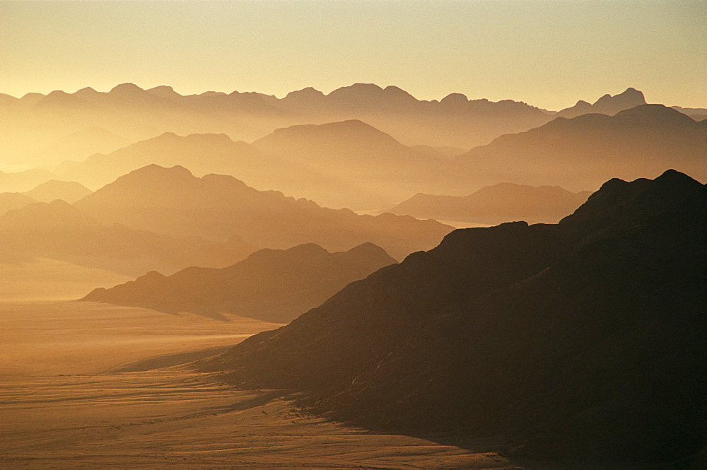 Dawn ridges, near Namib Naukluft Park, Namibia, Africa - 764-35