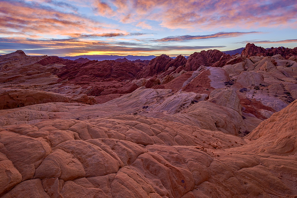 Sunrise over sandstone formations, Valley Of Fire State Park, Nevada, United States of America, North America