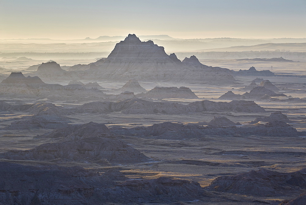 Badlands layers on a hazy morning, Badlands National Park, South Dakota, United States of America, North America