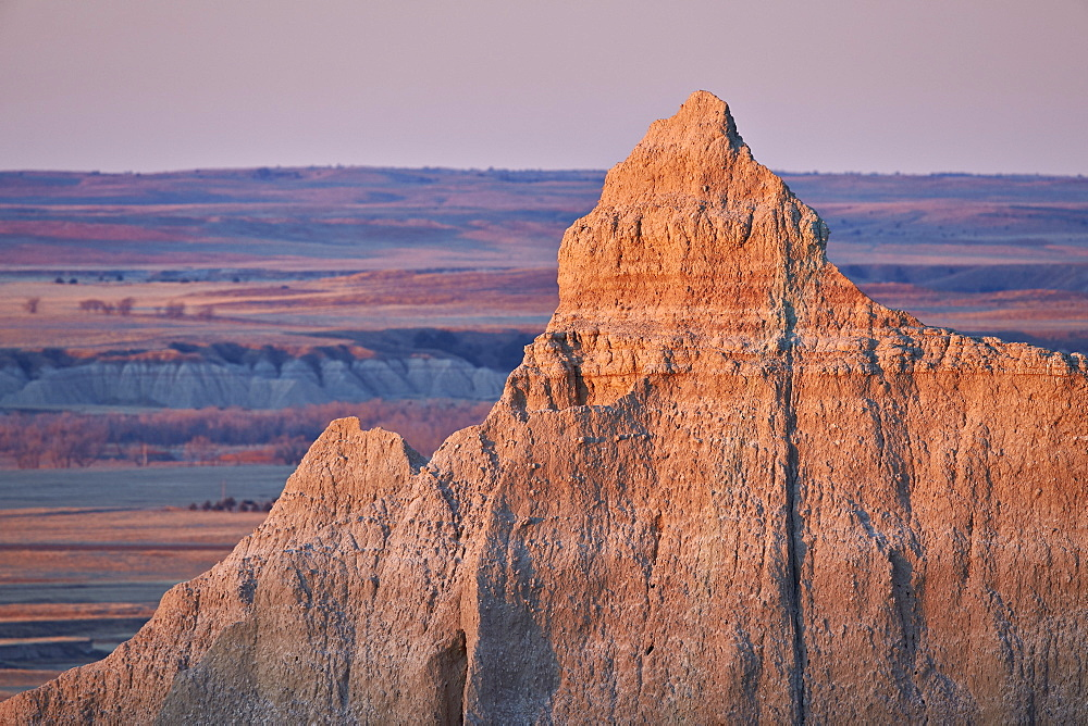 Badlands at dawn, Badlands National Park, South Dakota, United States of America, North America