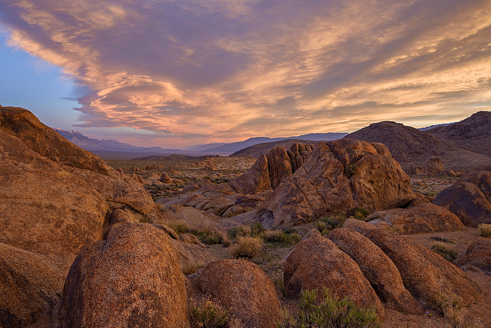 Clouds at dawn over the rock formations, Alabama Hills, Inyo National Forest, California, United States of America, North America
