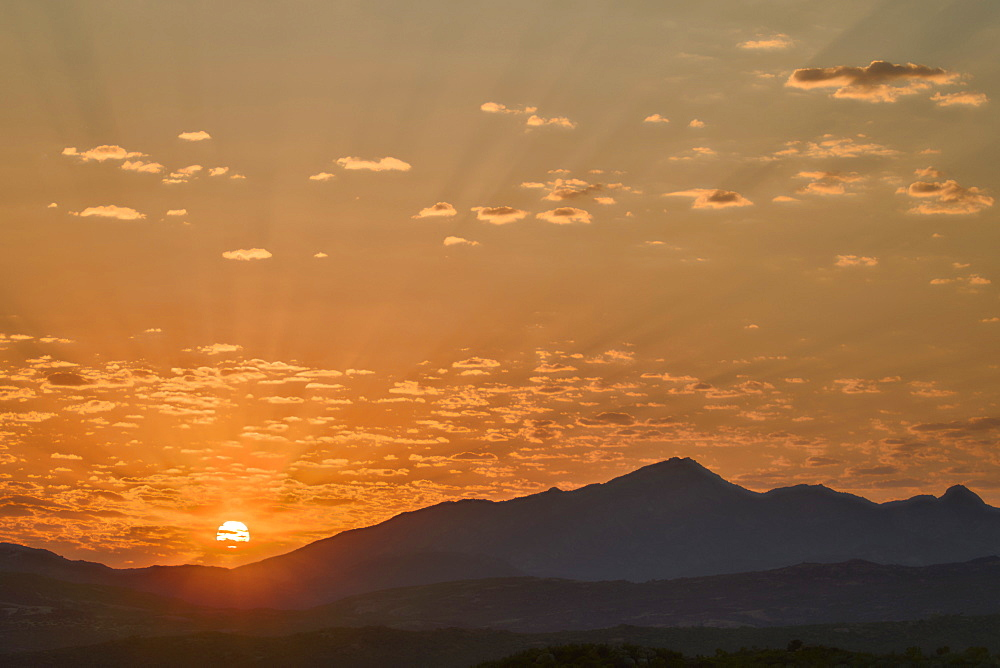 Sunrise over stacked hills, Namaqua National Park, Namakwa, Namaqualand, South Africa, Africa