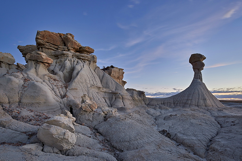 Hoodoo at dusk, Ah-Shi-Sle-Pah Wilderness Study Area, New Mexico, United States of America, North America