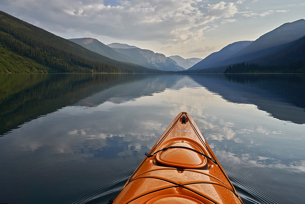 Kayaking on Cameron Lake, Waterton Lakes National Park, Alberta, Canada, North America - 764-6209