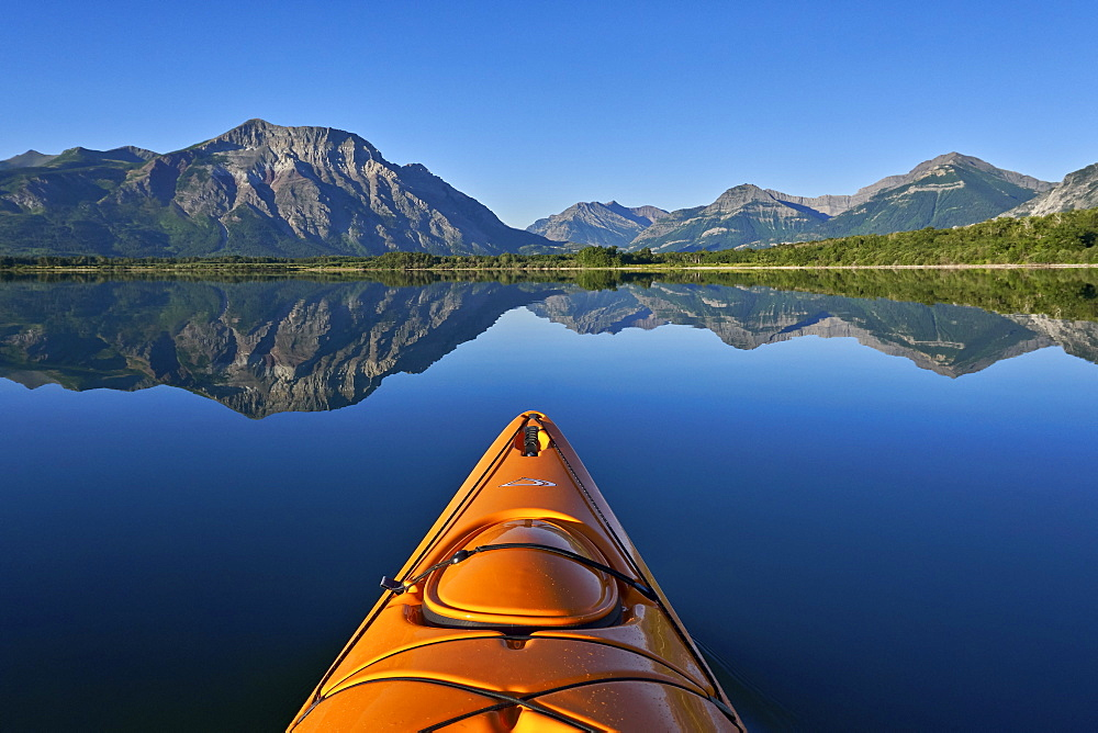 Lower Waterton Lake from a kayak, Waterton Lakes National Park, Alberta, Canada, North America - 764-6214