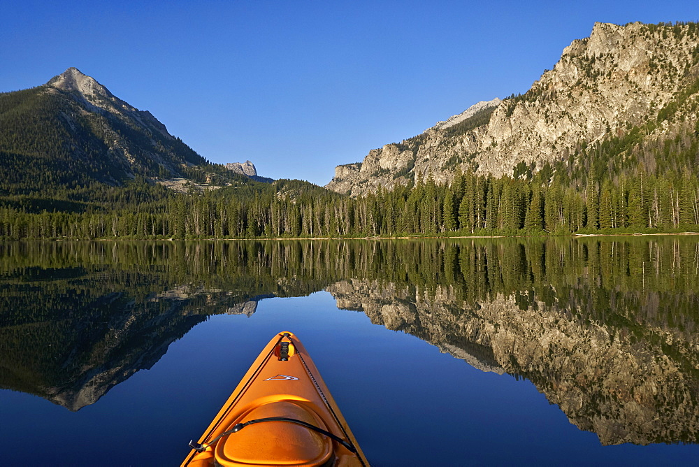 Pettit Lake while kayaking, Sawtooth National Recreation Area, Idaho, United States of America, North America