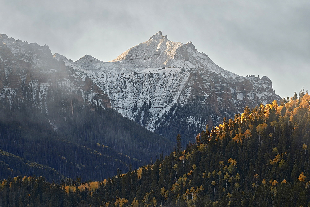 Snow-covered mountain in the fall, Uncompahgre National Forest, Colorado, United States of America, North America - 764-6241