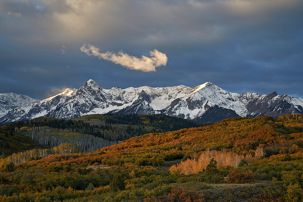 Snow-covered Sneffels Range in the fall, Uncompahgre National Forest, Colorado, United States of America, North America - 764-6242