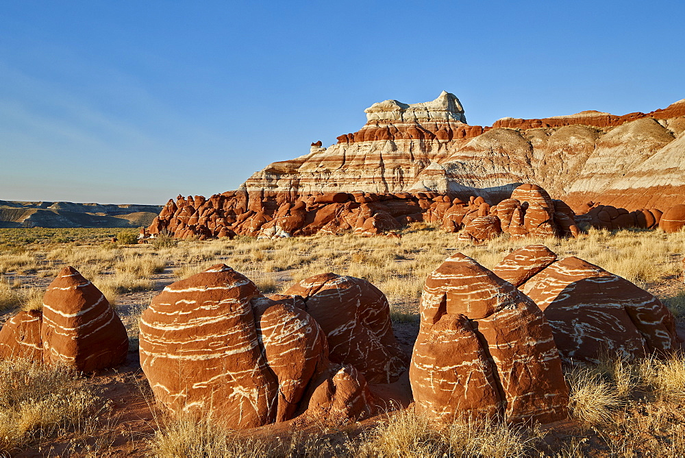 Striped red-rock boulders, Hopi Reservation, Arizona, United States of America, North America - 764-6250