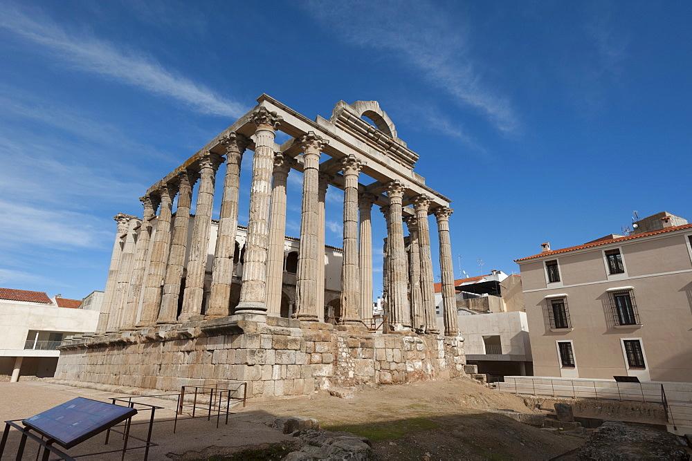 Temple of Diana, Merida, UNESCO World Heritage Site, Badajoz, Extremadura, Spain, Europe