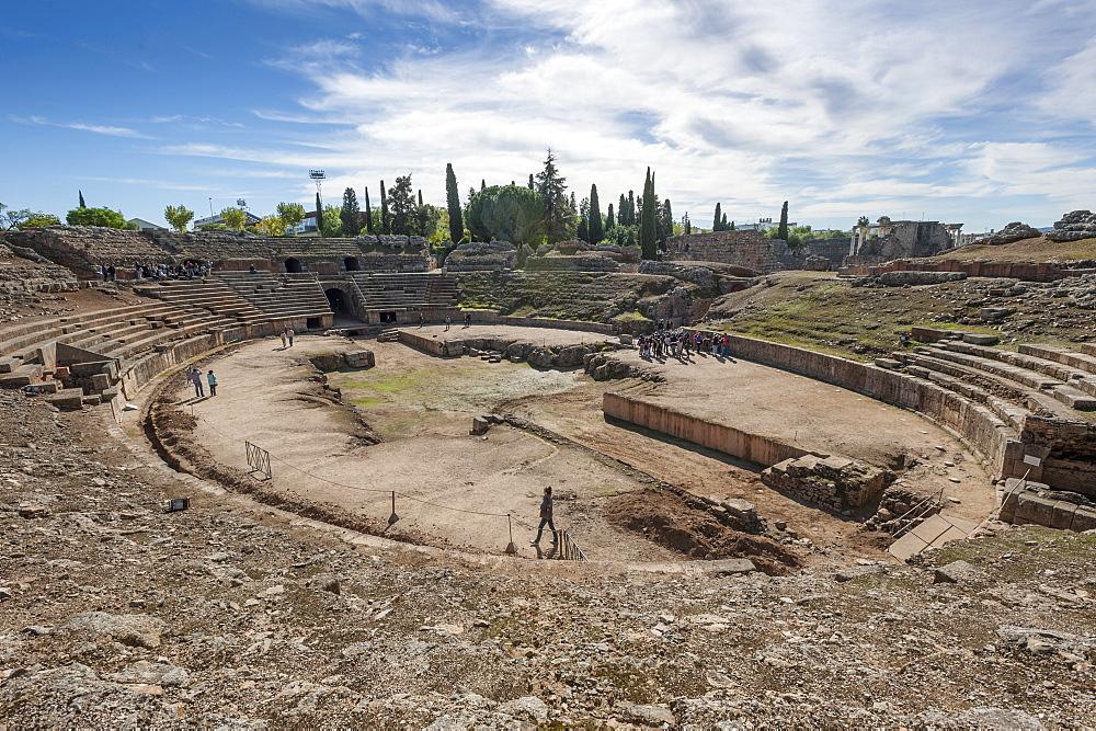 Roman Amphitheater, Merida, Badajoz, Extremadura, Spain, Europe