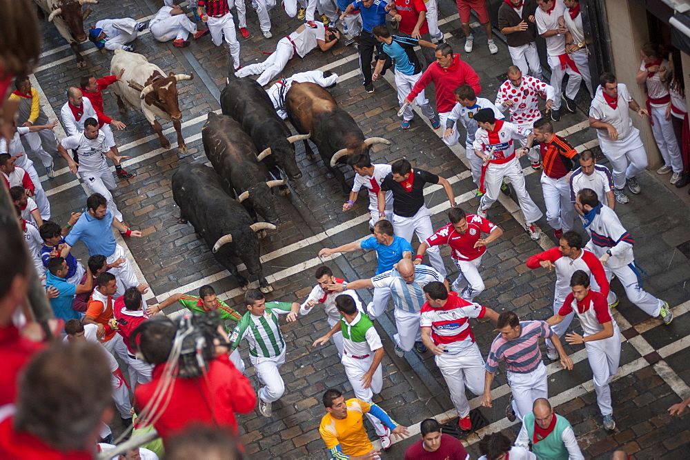 Running of the Bulls, Festival of San Fermin, Pamplona, Navarra, Spain, Europe - 767-1073