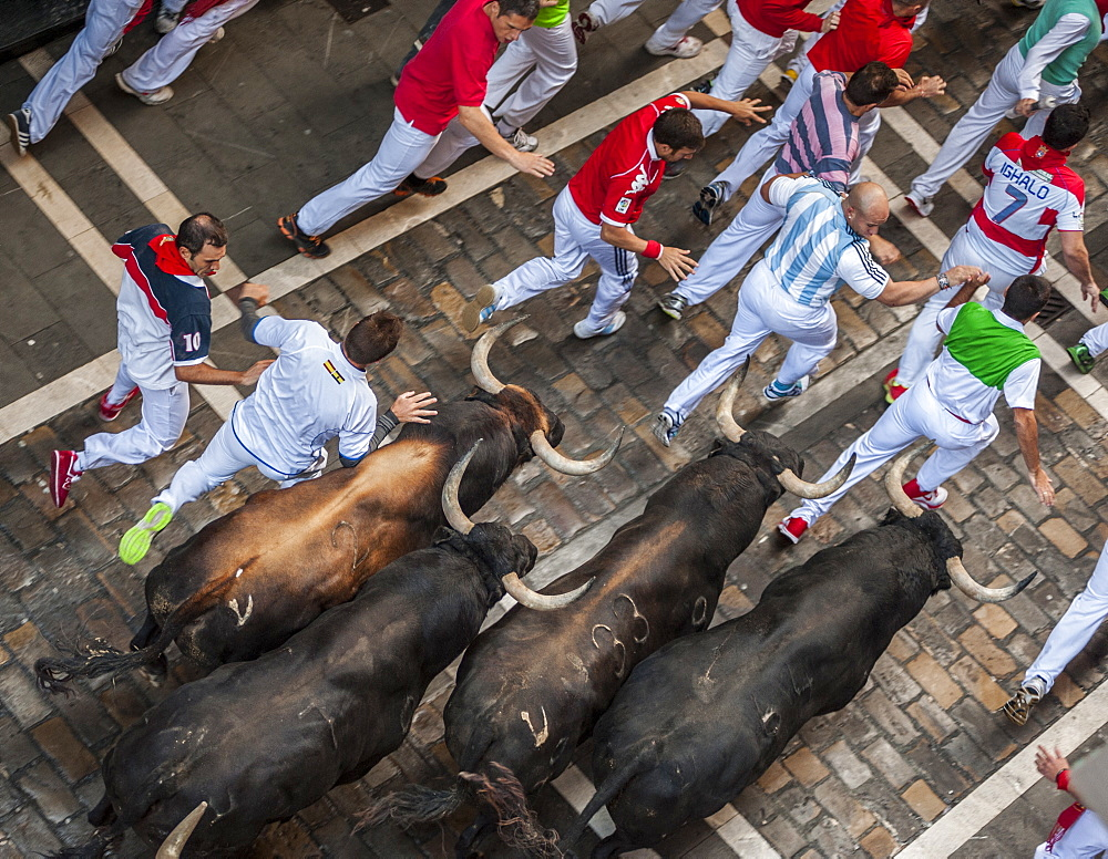 Running of the Bulls, Festival of San Fermin, Pamplona, Navarra, Spain, Europe - 767-1074