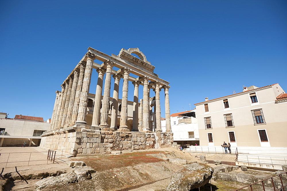 Temple of Diana in Merida, Badajoz, Extremadura, Spain, Europe