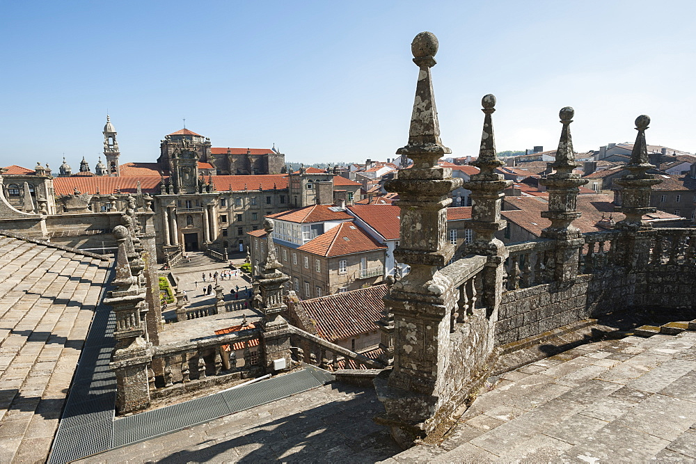 View from the roof of the Cathedral of Santiago de Compostela, Santiago de Compostela, A Coruña, Galicia, Spain, Europe