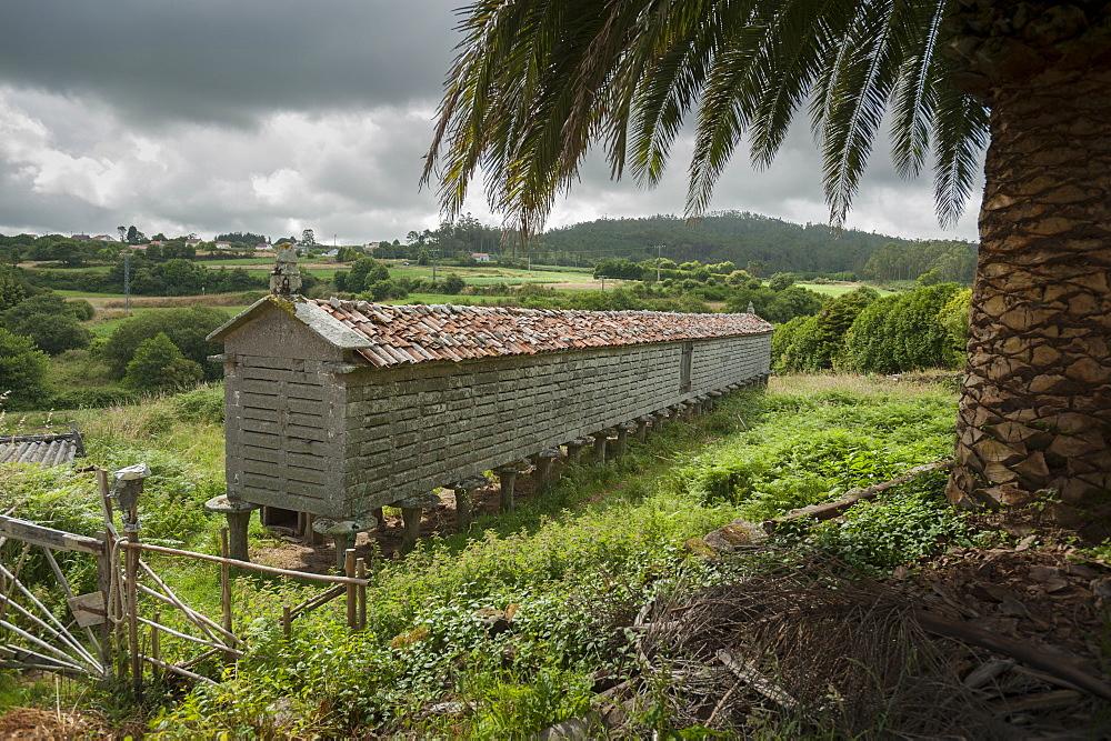 Horreo (stone granary), A Coruna, Galicia, Spain, Europe