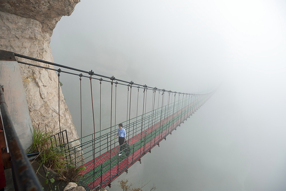 Hanging bridge at the Divine Cliffs, North Yandang Scenic Area, Wenzhou, Zhejiang Province, China, Asia