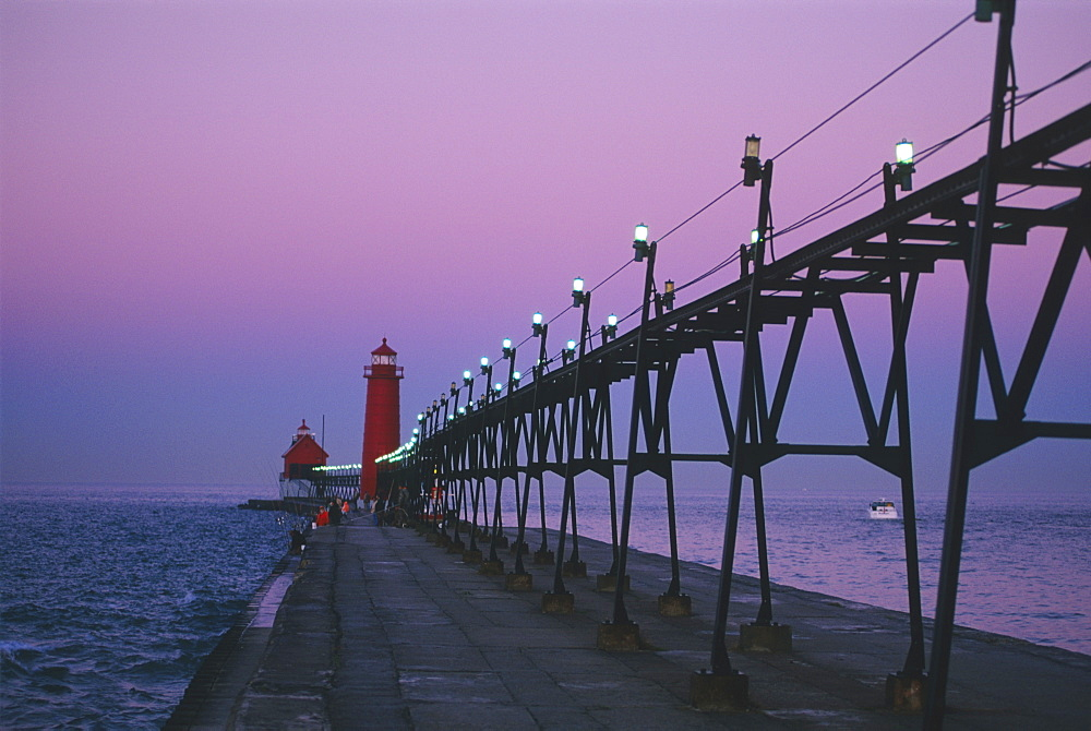 Grand Haven Lighthouse on Lake Michigan, Grand Haven, Michigan, United States of America, North America
