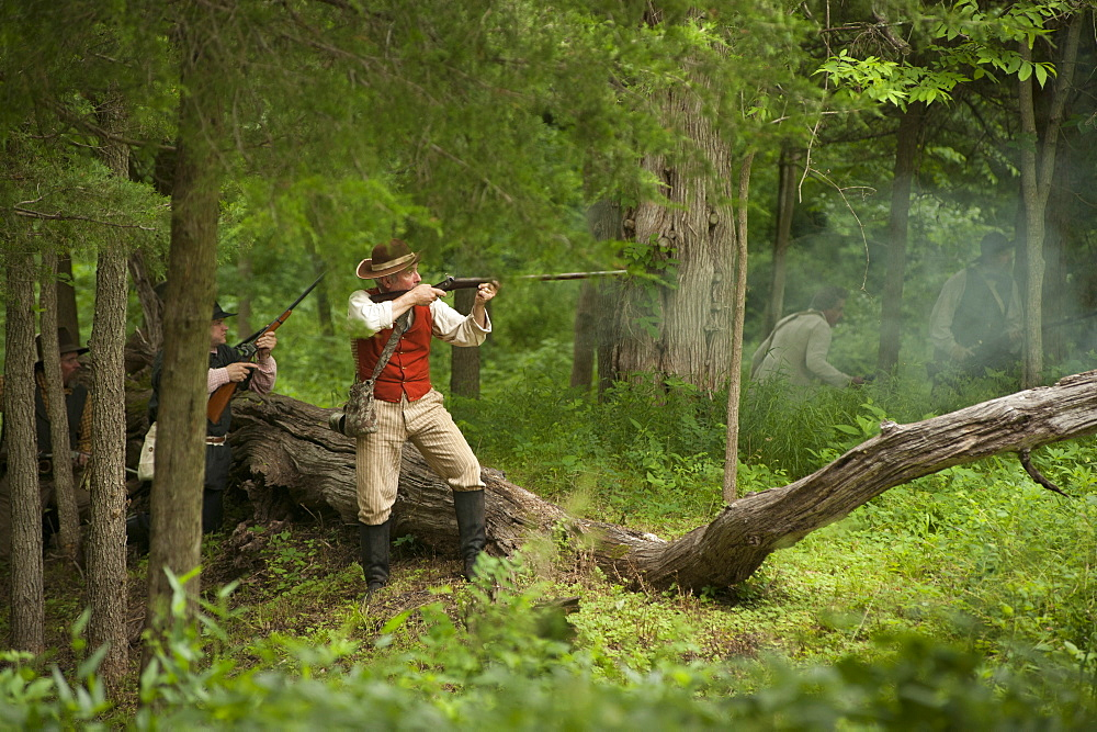 Black Jack Battlefield, Civil War Re-enactment, near Baldwin City, Kansas, United States of America, North America