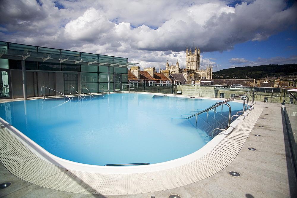 Roof Top Pool in New Royal Bath, Thermae Bath Spa, Bath, Avon, England, United Kingdom, Europe