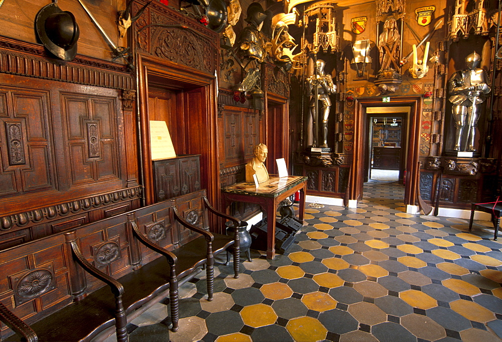 Barbaric-looking entrance hall, in the house built to Sir Walter Scott's plan and where the writer lived from 1812 until his death 20 years later, Abbotsford House, near Melrose, Scottish Borders, Scotland, United Kingdom, Europe