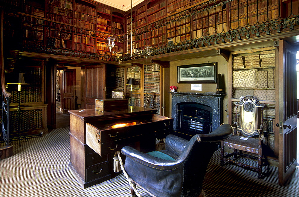 The study and desk where Sir Walter Scott wrote his novels, in the house built to his plan and where the writer lived from 1812 until his death 20 years later, Abbotsford House, near Melrose, Scottish Borders, Scotland, United Kingdom, Europe