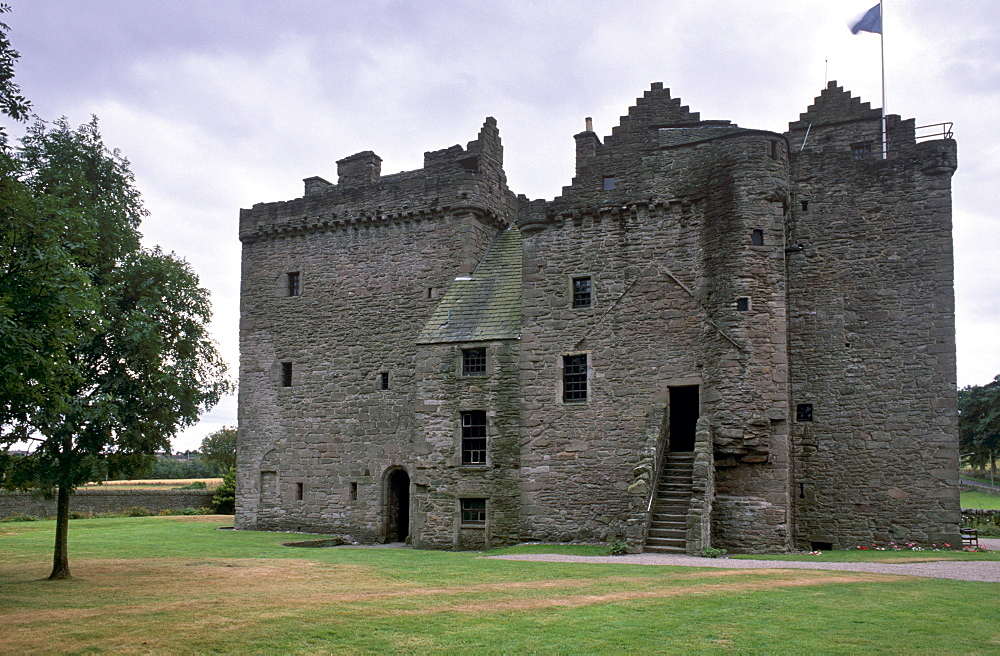 Huntingtower Castle dating from the 15th century, castle of the Ruthven family, confiscated by James VI for treason, near Perth, Perth and Kinross, Scotland, United Kingdom, Europe.