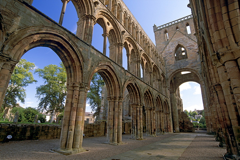 Three storey nave, Jedburgh Abbey, best preserved of the Borders abbeys, Jedburgh, Roxburghshire, Scottish Borders, Scotland, United Kingdom, Europe