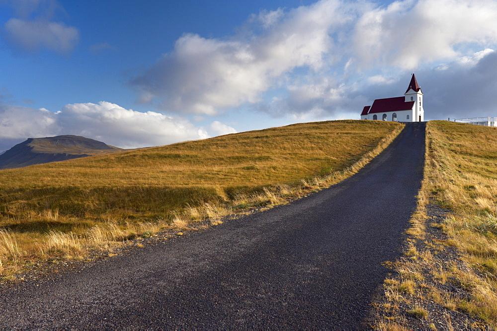 Ingjaldsholl church at Hellisandur, on border of Snaefellsjokull National Park, Snaefellsnes Peninsula, Iceland, Polar Regions