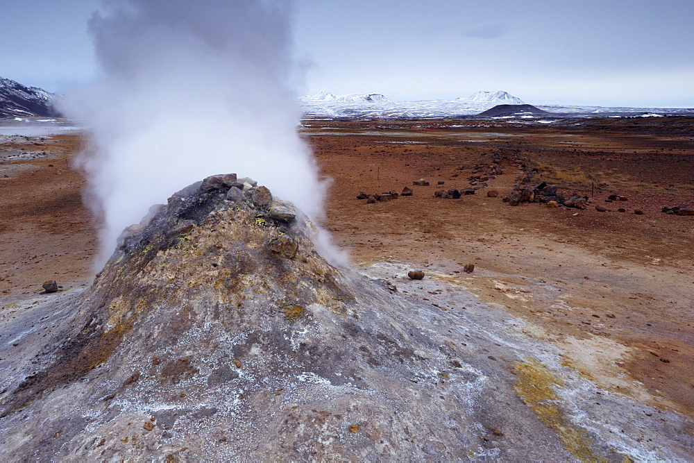Steam vent at Namaskard geothermal area (Namafjall-Hverarond), Mount Burfell, 935m, behind, near Lake Myvatn and Reykjahlid, North Iceland, Iceland, Polar Regions
