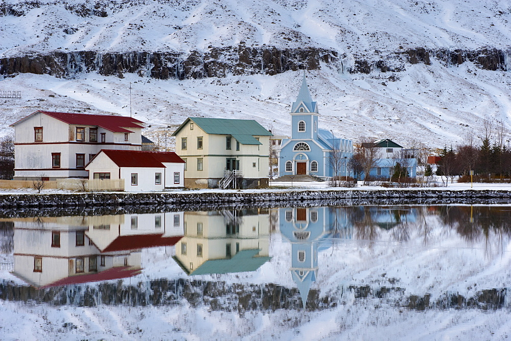 Traditional wooden church, built in 1922, at Seydisfjordur, a town founded in 1895 by a Norwegian fishing company, now main ferry port to and from Europe in the East Fjords, Iceland, Polar Regions - 770-1331