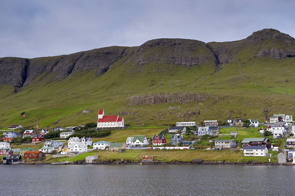 Tvoroyri, main village on Suduroy island, across Trongisvagsfjordur, Suduroy, Faroe Islands (Faroes), Denmark, Europe