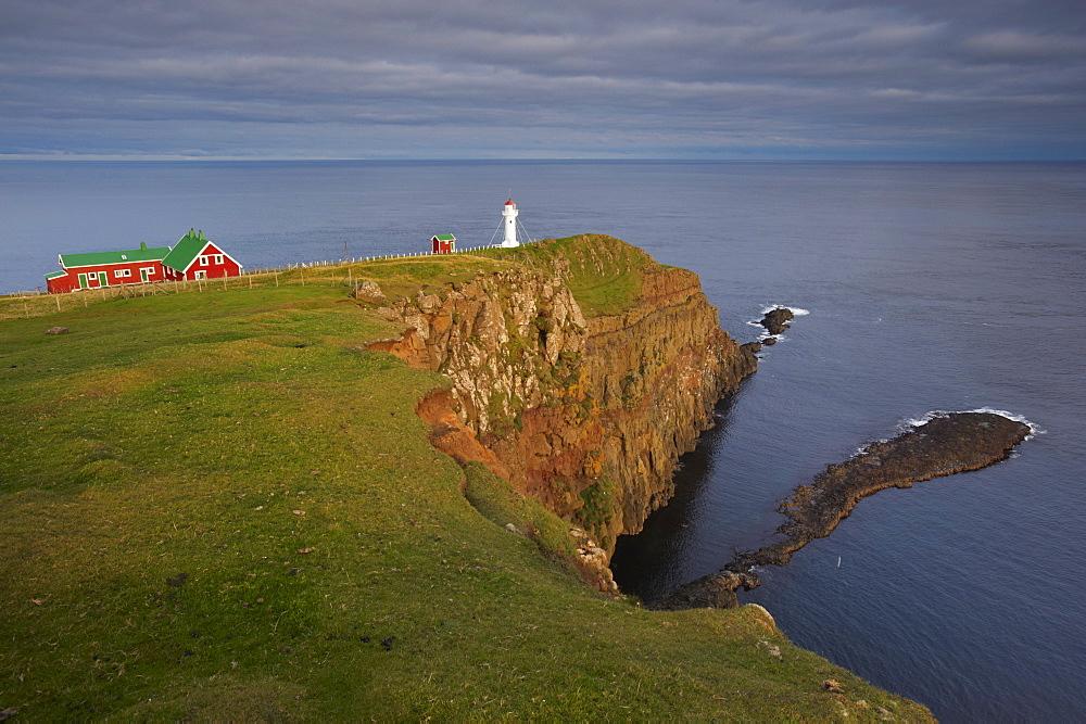 Akraberg lighthouse, Suduroy island, southernmost point of Faroe Islands (Faroes), Denmark, Europe