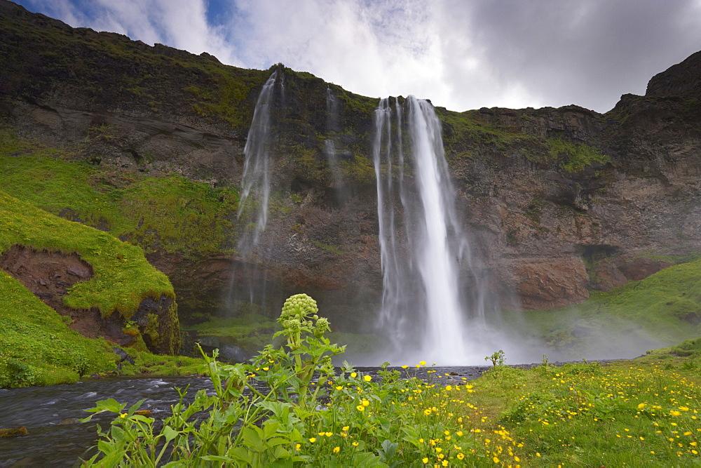 Seljalandsfoss on the south coast, west of Skogar, one of Iceland's most beautiful waterfalls, Iceland, Polar Regions