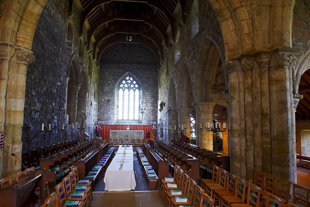 Iona Abbey, inside the church, Isle of Iona, Scotland, United Kingdom, Europe - 770-1596