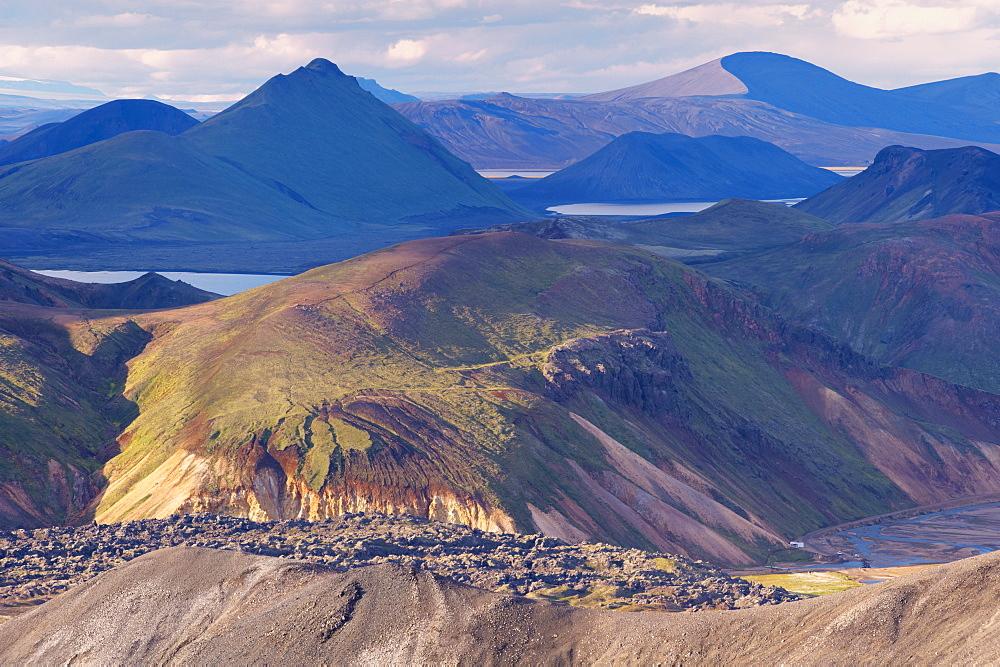 Laugahraun lava field seen from the slopes of Blahnukur, Landmannalaugar area, Fjallabak region, Iceland, Europe