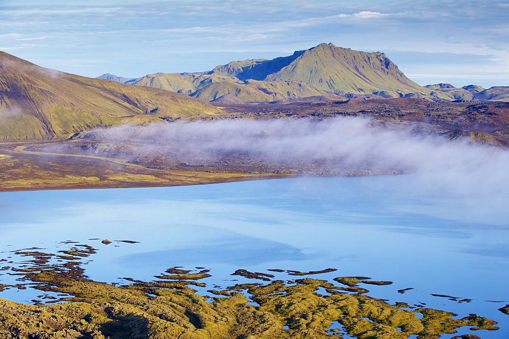 Lava flows in lake Frostadavatn, Landmannalaugar area, Fjallabak region, Iceland, Polar Regions