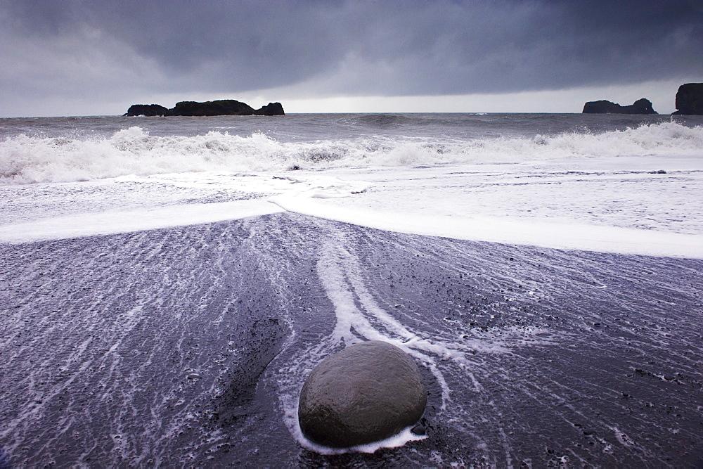 Rough sea on Reynisfjara black sand beach, near Vik, in the south of Iceland (Sudurland), Polar Regions