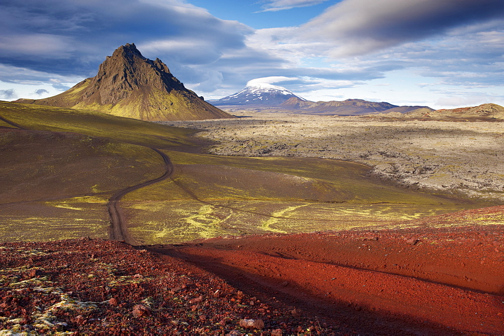 Mount Krakatindur, 858 m, standing solitary in the Nyjahraun lava field, east of Hekla volcano in the distance, Fjallabak route north (Nyrdri-Fjallaback) in the interior, Iceland, Polar Regions - 770-1669
