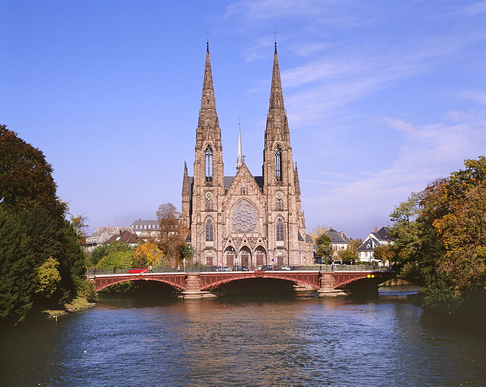 St. Paul's Church, beautifully situated over River Ill, a neo-gothic edifice built in 1889 under German rule, Strasbourg, Alsace, France, Europe - 770-1725