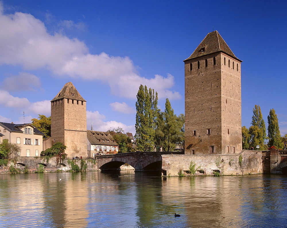 The Ponts-couverts (Covered-bridges) dating from the 14th century, and two of the three defensive towers over river Ill, part of the Grande Ile, UNESCO World Heritage Site, Strasbourg, Alsace, France, Europe - 770-1727