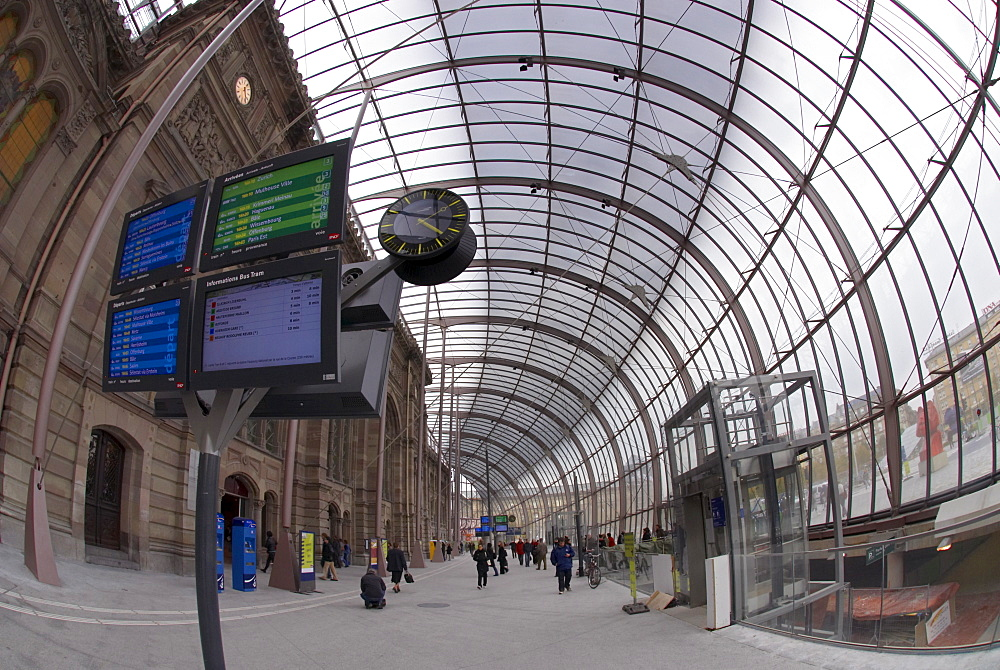 The new Strasbourg train station glass roof, built for the new high-speed rail line TGV Est, opened in 2007. Strasbourg, Alsace, France, Europe - 770-1732