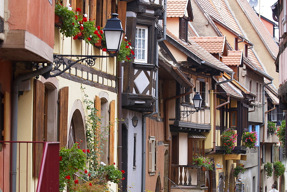 Street in the heritage village of Eguisheim, Alsatian Wine Road, Haut Rhin, Alsace, France, Europe - 770-1742