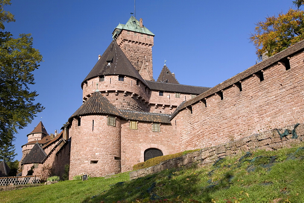 Haut-Koenigsbourg castle exterior walls, an impressive restored medieval castle overlooking the Rhine Plain, Haut Rhin, Alsace, France, Europe - 770-1751